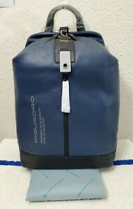 New Piquadro Active Blue/Black Leather Men's Backpack with PC Compartment