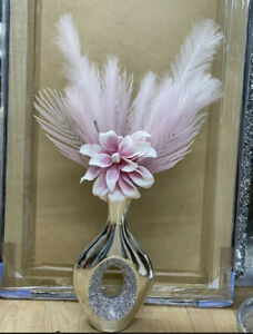 Crushed Diamond Crystal Filled Vase With Pink Foam Flower And Pink Feathers