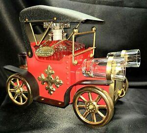 Vtg Red Tin Car Whiskey Scotch Music Box Decanter 4 Shot Glasses