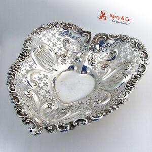 Huge Heart Bowl Dish Pierced Gorham Sterling Silver 1906
