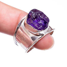 Rough Amethyst Ring Top 925 Sterling Silver 9.5 US Hand Made Unisex Silver Rings