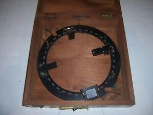 Vintage Azimuth circle By Young & Sons in Wood Case Made for U.S. Navy ww2 era