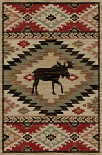 High Country Area Rug Runner Lodge Cabin Moose Native Rustic Beige Matching Set