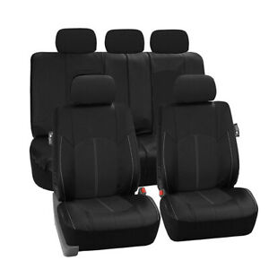 Full 5-Seat Cover Set Black PU Leather Breathable For Car SUV Front Rear Chair