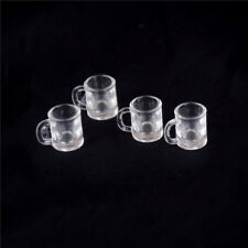 4 pcs 1/12 Doll house Miniature kitchen tableware plastic beer mug glass cups RS