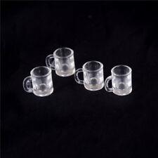 4 pcs 1/12 Doll house Miniature kitchen tableware plastic beer mug glass cups SP