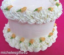 64 Edible Mini Orange  Rosebuds Sugar Icing Cake & Cupcake Topper  Flowers