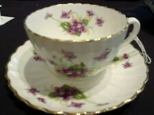 RADFORDS China England crown mark British Violet Flower Scalloped TEA CUP SAUCER