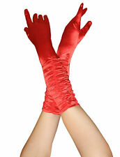 Ladies Satin Ruched Top Long Red Gloves Fancy Dress Wedding Halloween Accessory