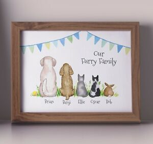 PERSONALISED FAMILY PETS PRINT - BUILD YOUR OWN FAMILY PETS DOGS CATS GIFT