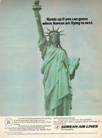 1979 Original Advertising' Korean Air Lines Company Aerial New York Statue Libe