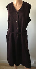 Symphony Size 18-20 Ladies Burgundy Black Check Jersey Diamante Button Up Dress