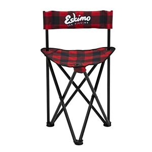 34789 New Plaid Eskimo Ice Fishing Gear Folding Chair With Carry Bag