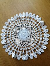 VINTAGE ROUND LACE COTTON CROTCHET DOILY DRESSING TABLECLOTH 34CMS in vgc