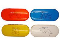 Kids Small Hard Googly Eyed Animal Glasses / Spectacle Case Blue White Orange