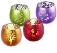 Home Ideas Glas-Teelichthalter versch. Motive und Farben Windlicht Neu OVP