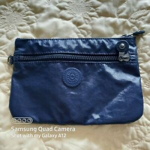 Kipling Pouch / Make-Up Bag with Extra Zipped Pocket - Navy Gloss