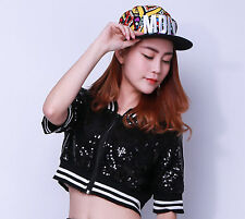 Kids Adult Sequin Hip Hop dance Costume Top Sexy Striped Paillette short Jacket