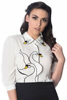 Women's White Swan Lake Birds Retro Vintage Blouse Top Shirt By Banned Apparel