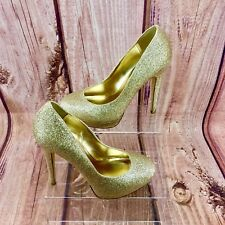 Womans platform Shoes 👠 South Gold Glitter Boxed uk 5 sparkle high heel court