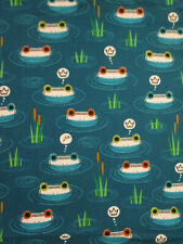 Frog Faces Lilly Pads Frogs Hop To It Dark Blue Cotton Fabric Fq