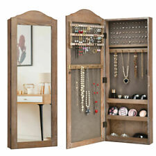 Mirrored Jewelry Cabinet Armoire Storage Organizer Wall Hanging