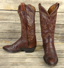 Tony Lama Cowboy Boots Brown Leather Mens Size 8.5 D Distressed Western Vintage