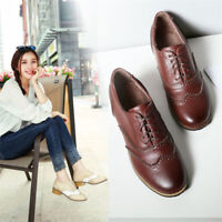 Women's College Oxford Lace Up Block Heel Brogues Wingtip Stitching Color Shoes