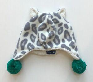 BABY GAP Girls Leopard Print Fleece Hat Pom Poms Size M/L 4-5 years Ivory Gray