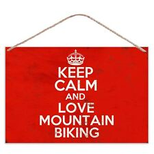 Keep Calm And Love Mountain Biking - Vintage Look Metal Large Plaque Sign 30x20c