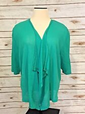 Catherines Open Front Cardigan Sweater 3x Green Lightweight High Low Shrug