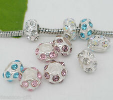 50 Mixed Silver Plated Rhinestone Spacer Beads. Fits Charm Bracelet 11x6mm