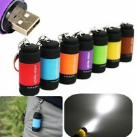 Waterproof USB Rechargeable LED Flashlight Lamp Pocket Keychain Mini Torch AU JT