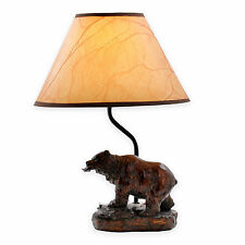 "Bear/Fish Accent Lamp - Oiled Paper Shade, 60"" Cord, Rustic - NEW - FreeShip"