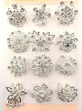 A 12 PACK OF BEAUTIFUL SILVER DIAMANTE FLOWER PIN BROOCH WEDDING BOUQUET BROOCH