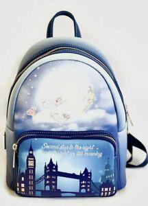 Disney Loungefly Peter Pan Mini Backpack Second Star Glow Dark Bag Moon Rucksack