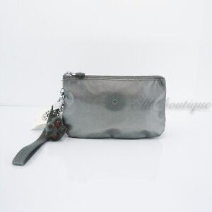 NWT Kipling AC8276 Creativity XL Extra Large Pouch Nylon Metallic Stoney Grey 42