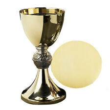 """Loaves & Fish Catholic Chalice 8"""" with 5"""" Paten Solid Brass with Gold Plating"""