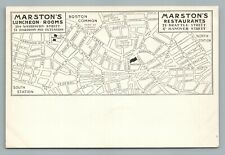 Marston's Restaurants—Scollay Square MAP Boston—Rare Antique UDB Postcard <1908
