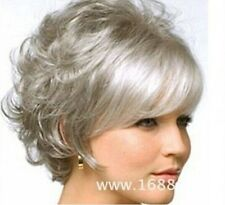 Beautiful New Fashion Charm Short women's Silver gray Curly Natural Hair wigs