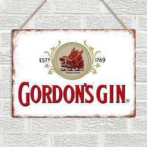 GORDON'S GIN Metal Wall Sign Plaque Vintage Retro Bar Pub Man Cave Garage Tonic