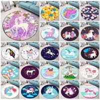 Rainbow Cartoon Magic Unicorn Area Rug Round Bedroom Carpets Non-slip Floor Mat