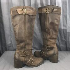 Aldo Brown Soft Leather Distressed 1/2 Zip Knee High Zip Boots Shoes 40 (9-9.5)
