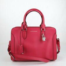 $1345 Alexander McQueen Fuchsia Leather Medium Skull Satchel Bag 419780 5635