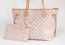 LOUIS VUITTON Tahiti Neverfull MM Tote Hand Bag Damier Azur N41050 Used W/Pouch