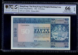 HONG KONG 50 DOLLARS 1981  PICK # 184g  PCGS 66 GEM UNC OPQ.