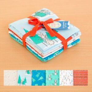 6 x Fat quarter fabric bundle Peter Rabbit Christmas Design