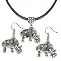 Vintage Jewelry Set Tibet Silver Elephant Pendant Necklace Hook Earrings Gift