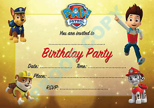 #23 PAW PATROL Pack of 10 dogs kids children birthday party INVITATIONS