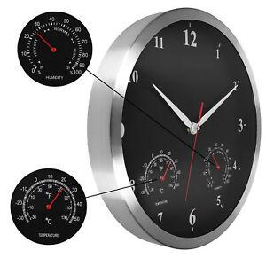 Wanduhr mit Thermometer Hygrometer XXL Leise Quarz Uhr Modern Lautlos analog